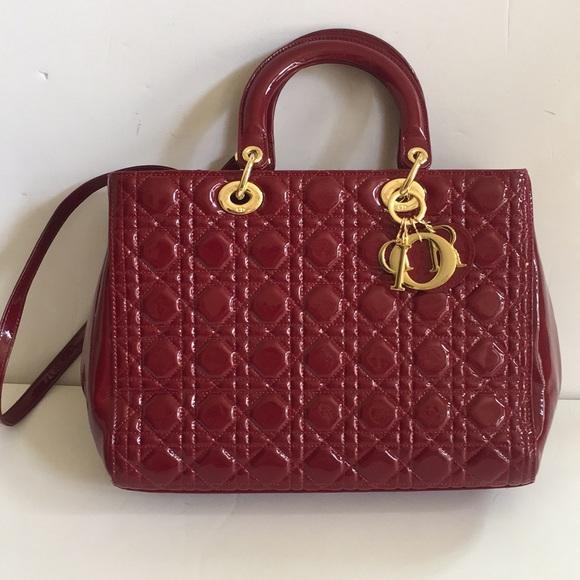 Dior Handbags - Lady Dior burgundy patent leather medium handbag cb00429abced6